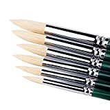 Bristle Pointed Round Brush Art Paint Brushes For Acrylic,Oil,Watercolor Painting Supplies,Set of 6 Artist Brushes For Children,Artists,Teachers.