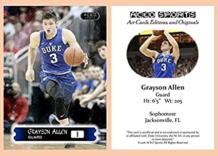 a2333fb3003 Image Unavailable. Image not available for. Color  Grayson Allen 2015 2016  ACEO Rookie Card RC Duke Blue Devils