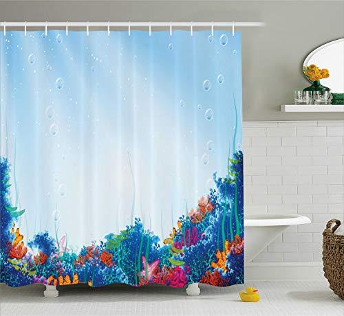 Ambesonne Underwater Shower Curtain, Marine Coral Reef Aquatic Scene Starfish Ocean Sea Exotic Nautucal Design, Fabric Bathroom Decor Set with Hooks, 70 Inches, Blue Pink Orange