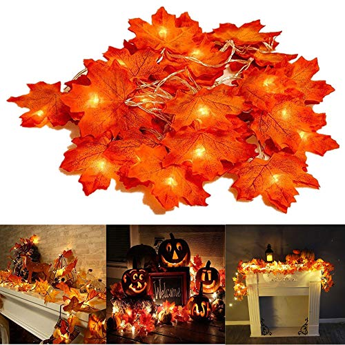 Christmas Decorations Fall Lighted Garland, 7.2 Feet 20 LED Maple Leaf String Lights, Battery Powered, Perfect Decoration for Autumn Halloween Christmas Indoor Outdoor Birthday Gift (Warm White)