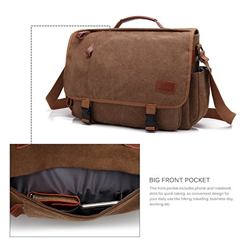 CoolBELL Messenger Bag 15.6 Inch Canvas Briefcase Vintage Shoulder Bag Laptop Case Mens Handbag Business Briefcase Multi-Functional Travel Bag for Men/Work / College/Student (Coffee) by CoolBELL (Image #1)