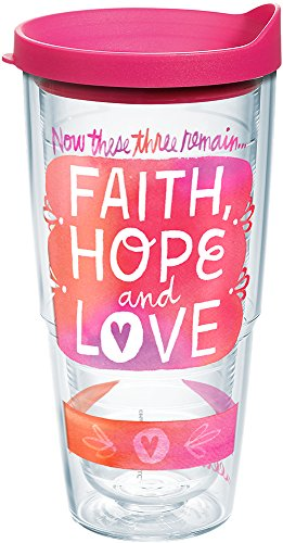 Tervis 1239512 Hallmark-Faith Hope Love Insulated Tumbler with Wrap and Fuschia Lid, 24oz, Clear by Tervis