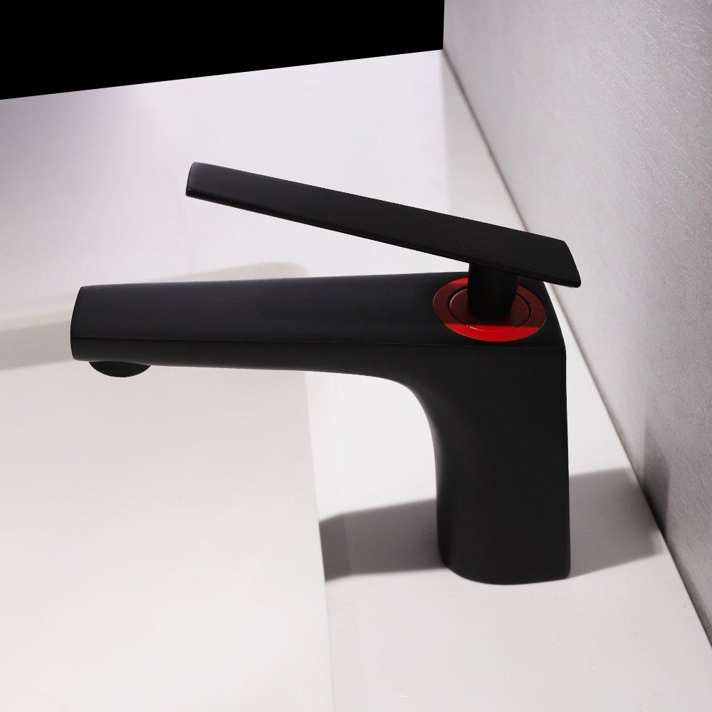 S Type ULING BL024-1 Desk Mount 5 High Matte Black Red Sink Mixer Tap for Wash Basin
