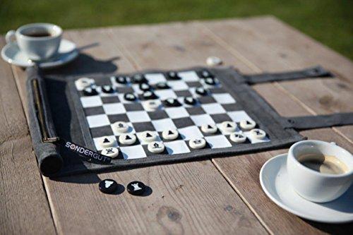 SONDERGUT Reise Schach/Dame Echtleder zum Rollen