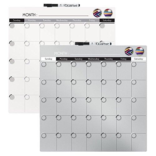 Quartet Magnetic Dry Erase Calendar Tile, 14 x 14 Inches, 1-Month Design, Frameless, Silver (48114-SL)