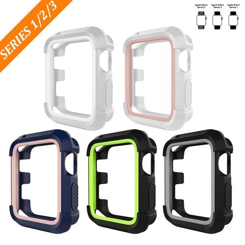 For Apple Watch Series 3 Accessories, BEPARTNER 5 Pack 42mm Apple Watch Series 3 Case, Rugged TPU Protective Case Cover Armour Screen Protector For Apple Watch Series 3 / 2 / 1 by BEPARTNER