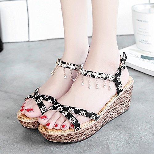 RUGAI-UE Sandalias de verano inferior grueso Toe Zapatos High-Heeled plana Black