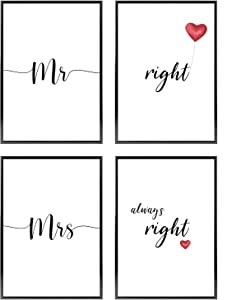 Bedroom Wall Decor for Couples | Different Sets Available | Love Wall Art | 4 Unframed Prints for Home and Room Decoration | 8.5x11in | Black and White Poster Set » Mr Right and Mrs Always Right «