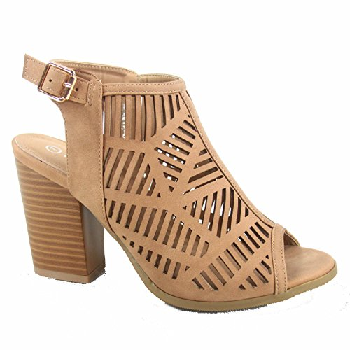 Top Moda Connie-8 Women's Cute Open Toe Chunky Heel Buckle Booties Sandal Shoes (10 B(M) US, Tan) by Top Moda