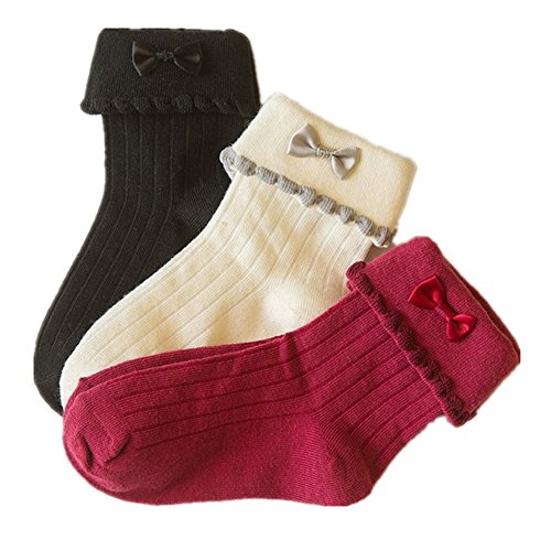 HZH 3 Pairs Cotton Socks for Baby Girls Kids 4 to 6 Years Old (Girls Dress Socks)