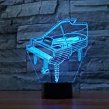 3D Illusion Lamp Gawell Piano Effect Night Light 7 Colors with Touch Switch USB Cable Nice Gift Home Office Decorations