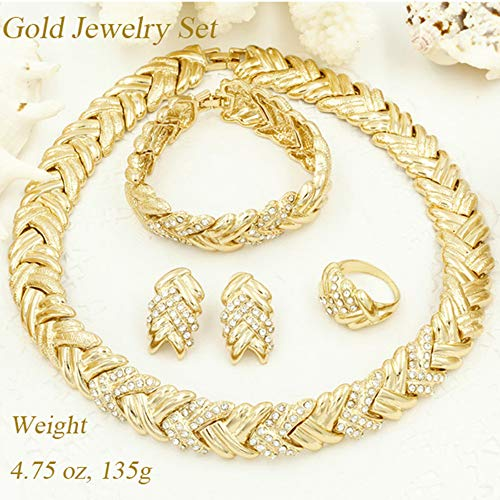 Liffly Fashion Crystal Jewelry Set 18 K Gold Plated Jewelry Weddings Dubai Gold Necklace Earrings Se - http://coolthings.us