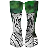 Fun White Tiger Animal Girls Dress Socks Womens Crew Socks