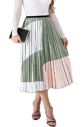 BingSai - Vestido Largo con Falda Tipo Maxi para Mujer, Plisado ...