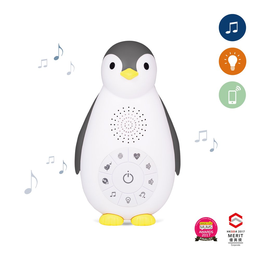 Zazu ZOE the Penguin Bluetooth Music Box with Nightlight, Grey ZA-ZOE-01