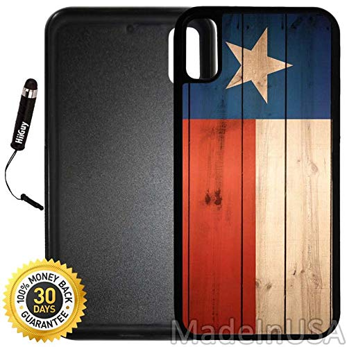 Custom iPhone X/XS Case (Texas Flag on Wood) Edge-to-Edge Rubber Black Cover with Shock and Scratch Protection | Lightweight, Ultra-Slim | Includes Stylus Pen by INNOSUB