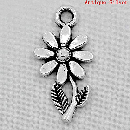 PEPPERLONELY 100pc Antiqued Silver Alloy Sunflower Charms Pendants 19x10mm (6/8