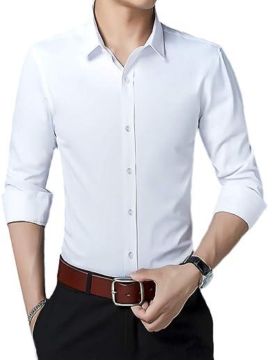 Camisa para Hombre de Manga Larga sin Planchado, fácil Ajuste, sin Planchado, Informal: Amazon.es: Ropa y accesorios