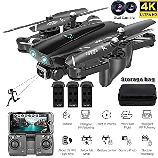 Remote Control Drones S167F Quadcopter UAV Dual Camera 720P/1080P/4K Three Batteries with Storage Bag (720P)