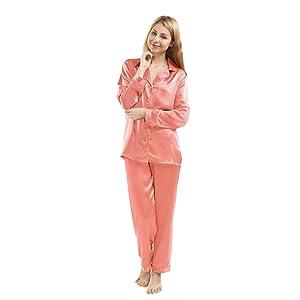 LUXUER Women's Handmade Pure Mulberry Silk Pajama Set Classic Luxury