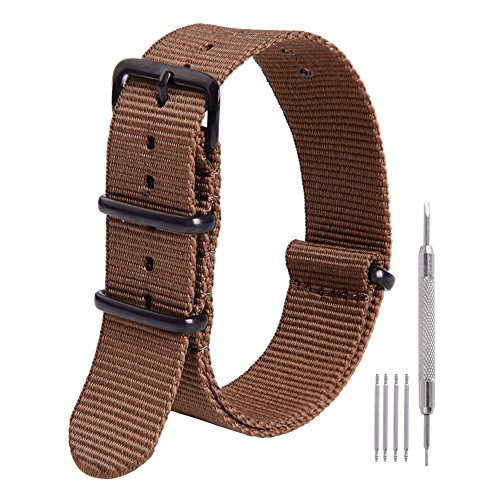 - Ritche 20mm Nato Strap Dark Brown Premium Nylon Watch Band Replacement Watch Straps for Men Women
