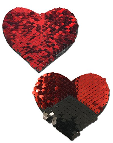 (Sweety: Red & Black Color Changing Sequin Heart Nipple Pasties by Pastease o/s)