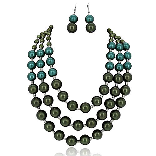Comelyjewel Multi Layer Mix Color Chain Strand Beaded Statement Necklace for Women (Green -