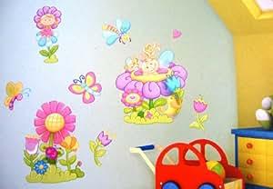 Flores Y Mariposas Niña Princesa Pegatinas de Pared, Flores y Mariposas individuales habitación pegatinas para Niños Habitaciones