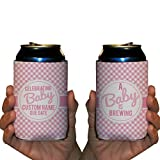Custom Baby Shower Can Cooler- A Baby Is Brewing Can Cooler - It's A Girl Can Cooler (48)