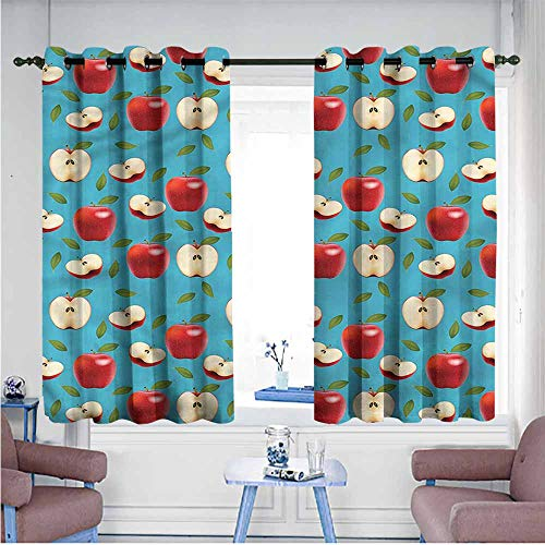 VIVIDX Indoor/Outdoor Curtains,Apple,Red Delicious Healty Food,Hipster Patterned,W72x45L