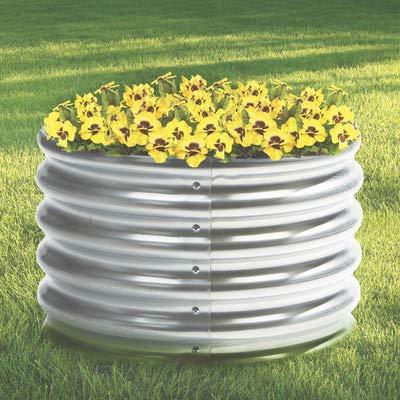 Kotulas Galvanized Steel Round Raised Garden Bed — 2ft. x 12in.: Garden & Outdoor
