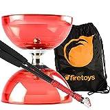 Red Cyclone Quartz 2 Diabolo & Carbon Fibre Diablo Sticks Set with Firetoys Bag by Firetoys Diabolo