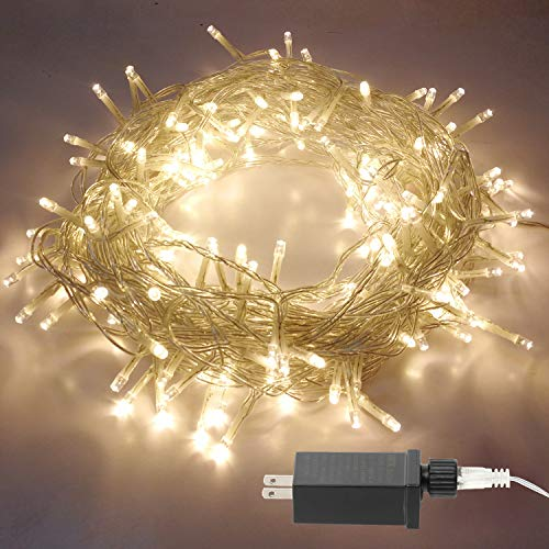 Aluan Christmas Lights String Lights 100 LED 43ft 8 Modes Indoor String Lights 31V Waterproof Plug in Fairy Lights Home Garden Party Wedding Christmas Tree Bedroom Window Curtain Decoration