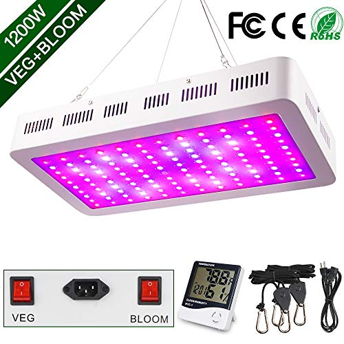 (1200W LED Grow Light, WAKYME Full Spectrum Double Switch Plant Light with Veg and Bloom Button, Thermometer Humidity Monitor, Adjustable Rope, Grow Lamp for Indoor Plants Veg and Flower )