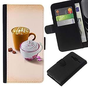 Stuss Case / Funda Carcasa PU de Cuero - Dise?ar Whip lindo café - Samsung Galaxy Core Prime
