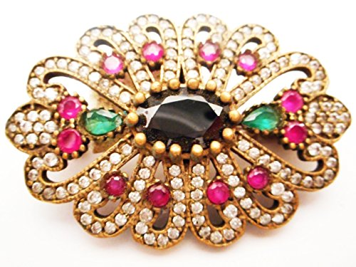 - Vintage Ottoman 925 silver ruby emerald and diamond pin brooch