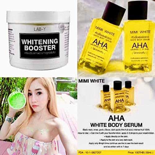 LAB -Y Booster Treatment Cream 450 ml & 3 X AHA Serum.Rough Skin Bikini,whitening with Collagen,White Body Skin Lightening Bleaching Dark Speed White White Remove Dead Skin Cells