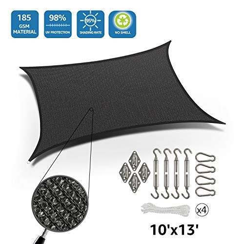 DOEWORKS Rectangle 10' X 13' Sun Shade Sail with Stainless Steel Hardware Kit, Idea for Outdoor Patio, Graphite (Sun Patio Ideas Block)