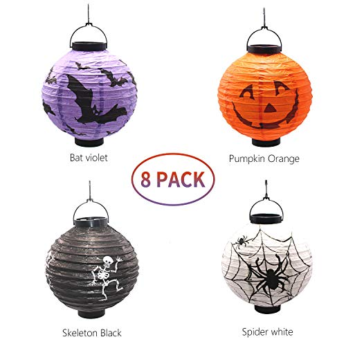THREEMAO Halloween Decorations Hanging Paper Lanterns with LED Light,Pack of 8 ,Jack-O, Bats,SKeleton,Spiders ()