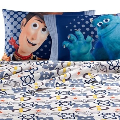 Disney Pixar Patchwork Sheet Set - Toy Story - Monster Inc (Full, Multi)