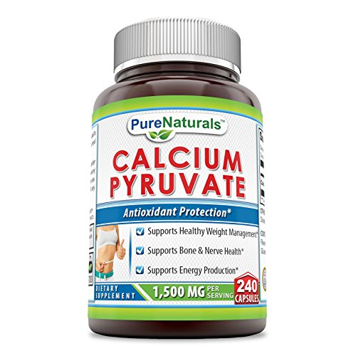 Pure Naturals Calcium Pyruvate Supplement - 1500 mg per Serving of 2 Capsules, 240 Capsules per Bottle – Supports Healthy Weight Management, Energy Production and Bone Health