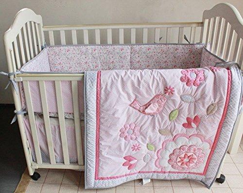 NAUGHTYBOSS Girl Baby Bedding Set Cotton 3D Embroidery Bird Flowers Quilt Bumper Bedskirt Mattress Cover 7 Pieces Pink