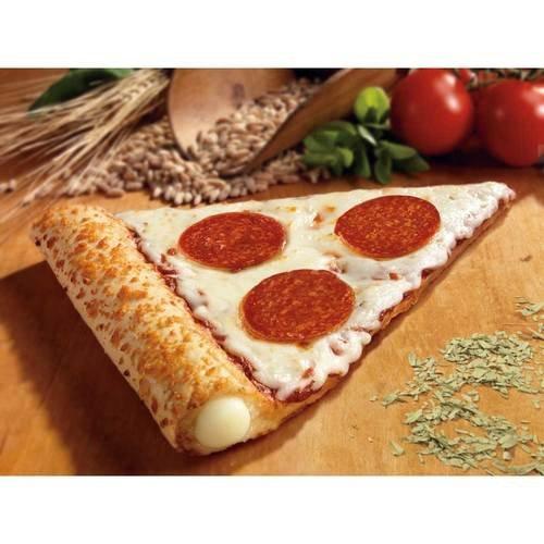 Conagra The Max Stuffed Crust Pepperoni Mozzarella Pizza Slice, 5.75 Ounce - 72 per case.