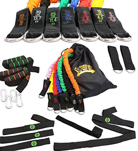 Resistance Bands _ 23 Piece Fitness Band Set _ 7 SNAP PROOF Stackable Workout Kit