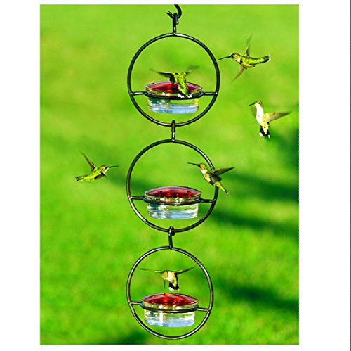 Modern Hummingbird & Wildbird Feeders G425M - 3 Hanging Glass Birdseed Bowls