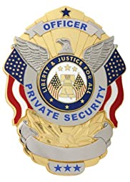 Private Security Officer Eagle Over Flags Shield Badge