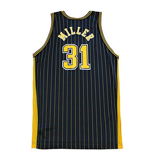 - Tyusdva Mens Miller Jersey #31 Basketball Adult Indiana Reggie Blue Yellow Stripe Sizes (Blue, Small)
