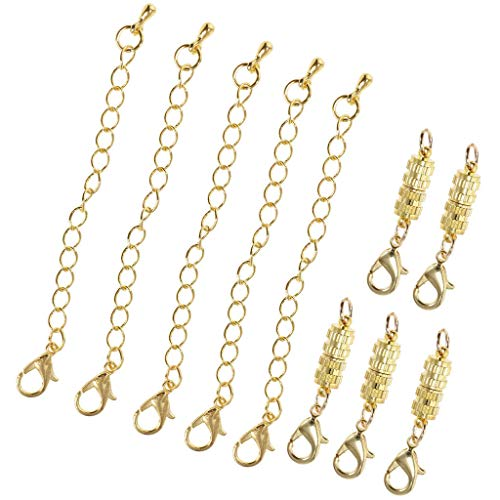 (10Pcs 5mm Cylinder Magnetic Clasp Jewelry Fastener Lobster DIY Finding Craft (Color - Gold))