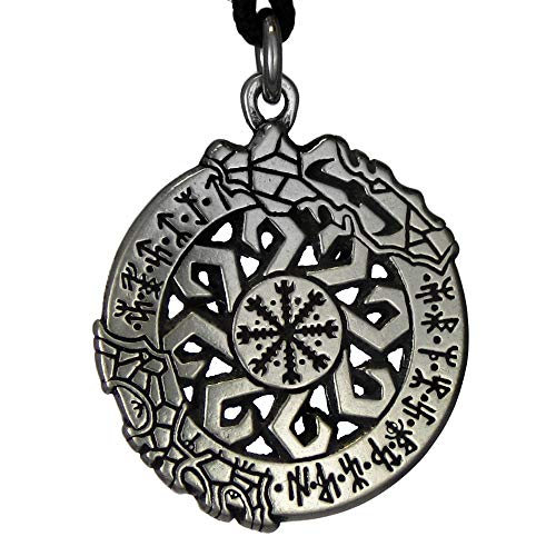 Pewter Medallion Pendant - Pewter Invincibility in Battle Aegishjalmur Norse Viking Rune Pendant