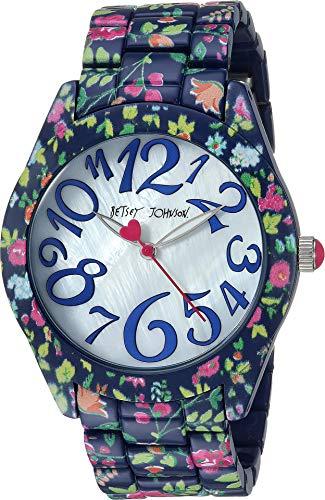 - Betsey Johnson Women's Printed Case & Bracelet Watch Multi/Navy Floral One Size